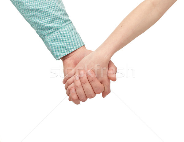 happy father and child holding hands Stock photo © dolgachov