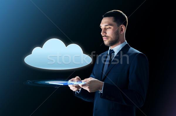 ビジネスマン 雲 投影 ビジネスの方々  サイバースペース ストックフォト © dolgachov