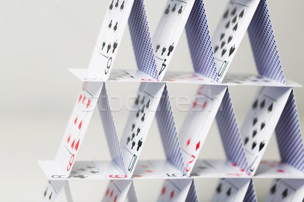 Casa cartas blanco casino juego juegos Foto stock © dolgachov