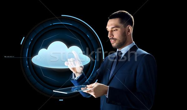 ビジネスマン 雲 投影 ビジネスの方々 ストックフォト © dolgachov