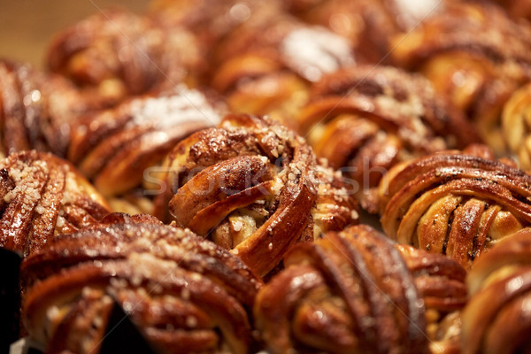close up of buns or pies at bakery Stock photo © dolgachov