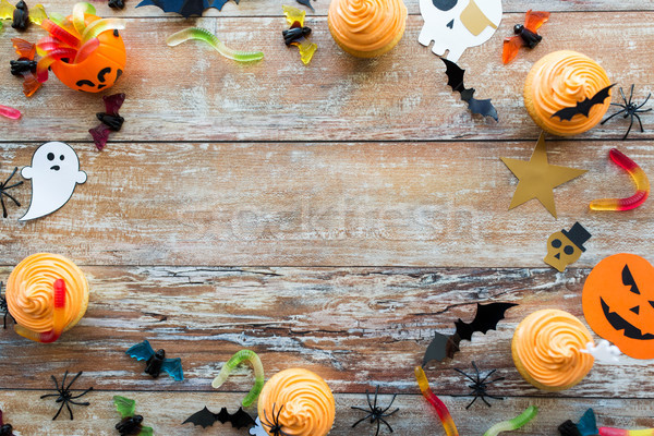 halloween party paper decorations and treats Stock photo © dolgachov