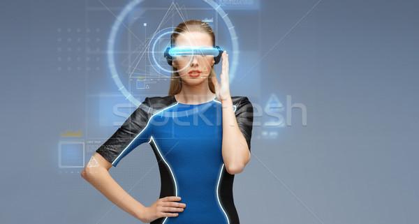 Mulher virtual realidade óculos 3d ciência tecnologia Foto stock © dolgachov