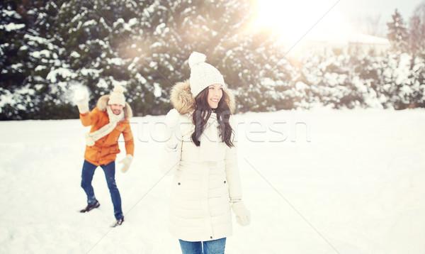 Mutlu çift oynama kış insanlar sezon Stok fotoğraf © dolgachov