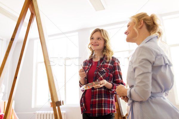 artists discussing painting on easel at art school Stock photo © dolgachov