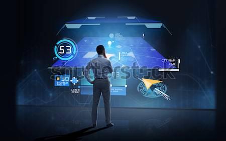 Empresário terra holograma preto pessoas de negócios realidade Foto stock © dolgachov