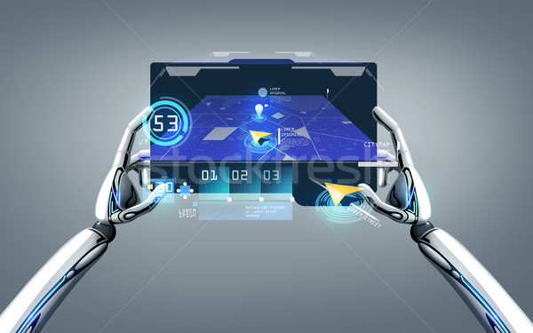 robot hands with gps navigator on tablet pc Stock photo © dolgachov