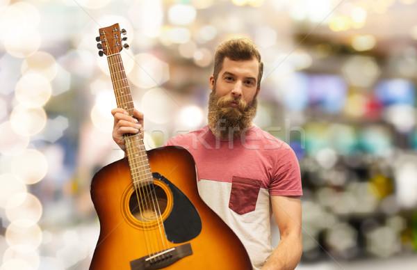 Maschio musicista chitarra luci musica persone Foto d'archivio © dolgachov