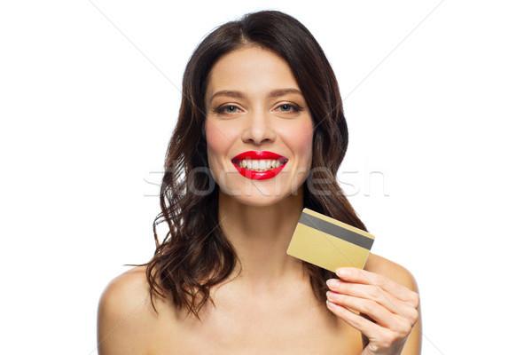 Mooie vrouw creditcard winkelen mensen Stockfoto © dolgachov