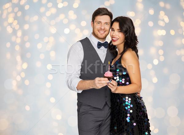 Feliz casal festa de aniversário celebração aniversário Foto stock © dolgachov