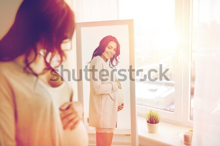 woman in underwear looking at mirror in morning Stock photo © dolgachov