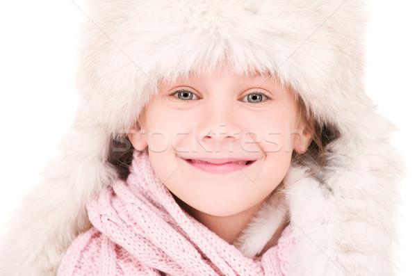 happy girl in winter hat Stock photo © dolgachov