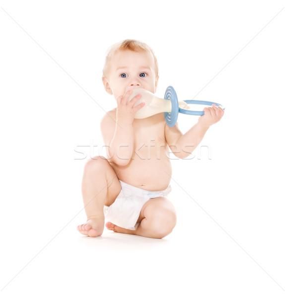 Stok fotoğraf: Bebek · erkek · büyük · emzik · resim · beyaz