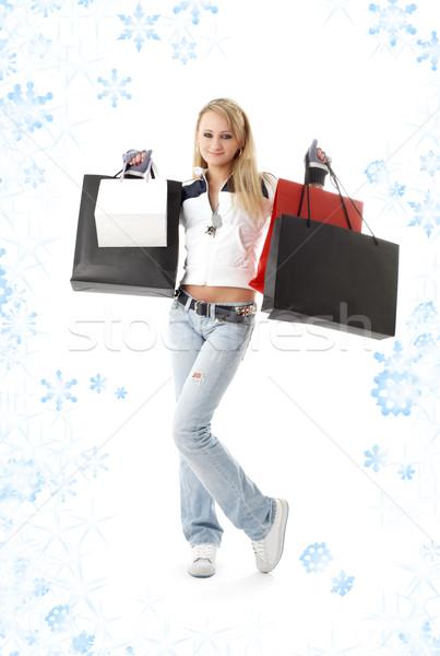 Shopping fiocchi di neve neve bellezza Foto d'archivio © dolgachov