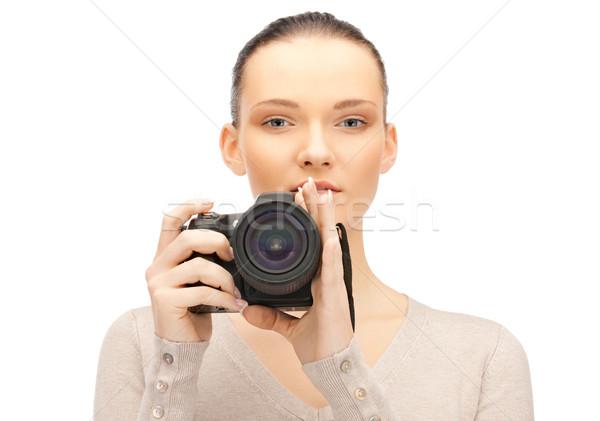 Fotocamera digitale foto donna faccia Foto d'archivio © dolgachov