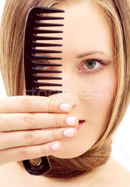 Kamm hellen Bild schöne Frau Frau Gesicht Stock foto © dolgachov