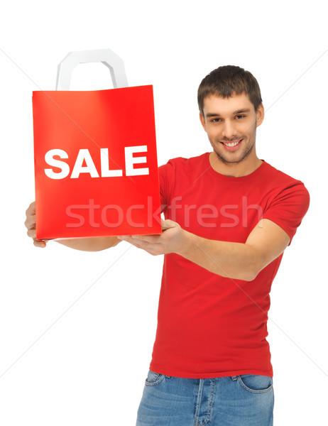 Stock foto: Mann · Einkaufstaschen · Bild · schöner · Mann · glücklich · weiß