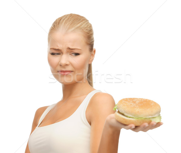 woman rejecting junk food Stock photo © dolgachov