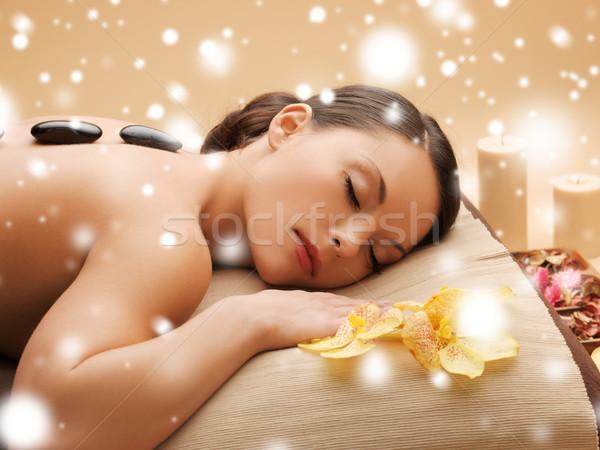 Gyönyörű nő forró kövek egészség szépség nő Stock fotó © dolgachov