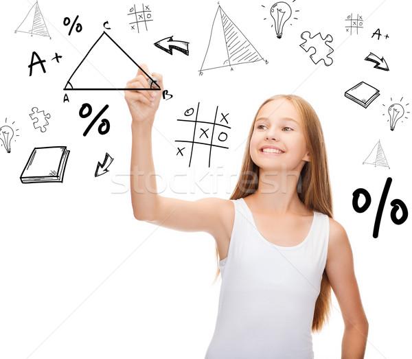 Mosolyog lány fehér póló rajz háromszög Stock fotó © dolgachov