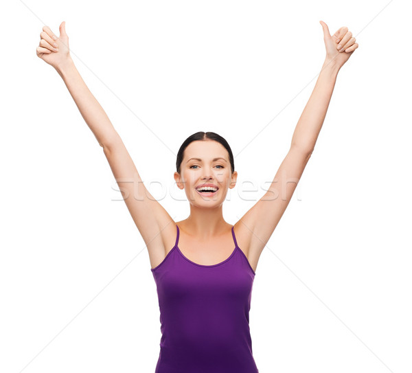 girl in blank purple tank top with crossed arms Stock photo © dolgachov