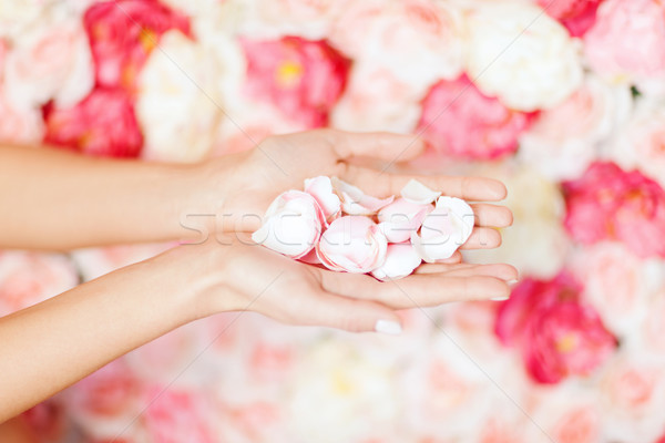 womans cupped hands with flower petals Stock photo © dolgachov