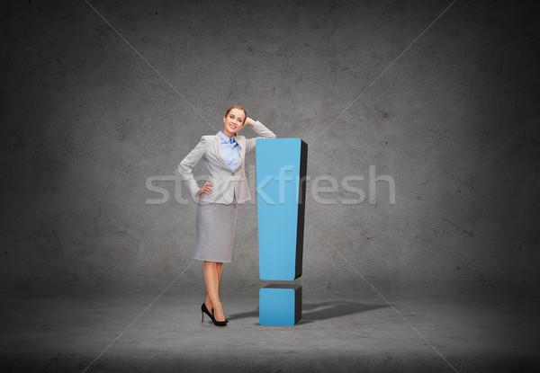 Gülen işkadını ünlem işareti iş bilgi ofis Stok fotoğraf © dolgachov