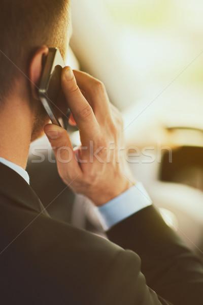 Stockfoto: Man · telefoon · rijden · auto · vervoer · voertuig
