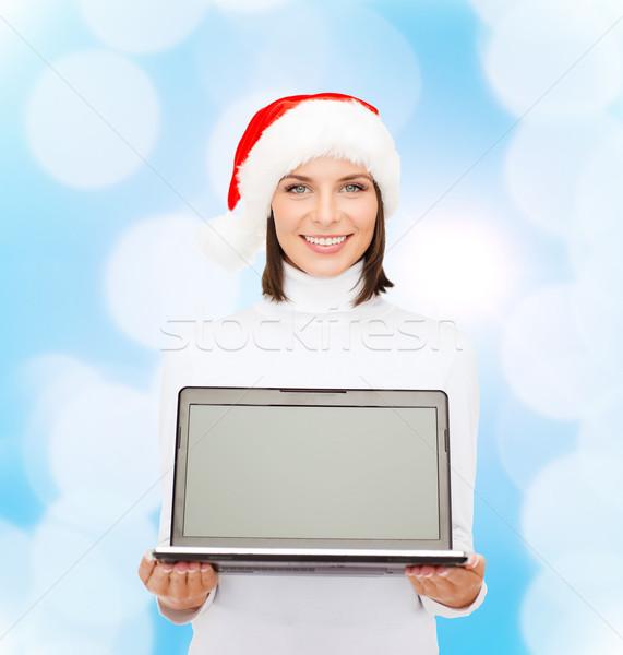 Vrouw helper hoed laptop computer christmas Stockfoto © dolgachov