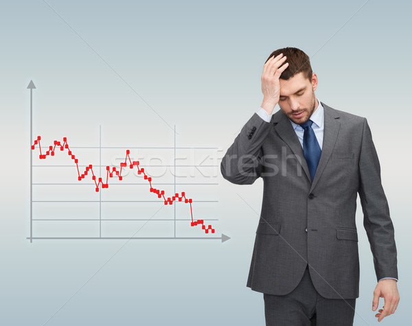 businessman over forex graph going down Stock photo © dolgachov
