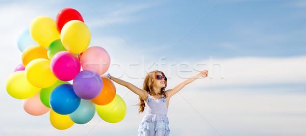ストックフォト: 幸せな女の子 · カラフル · 風船 · 夏 · 休日 · お祝い