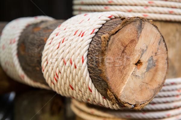 Fából készült nyaláb kötél épület építkezés öko Stock fotó © dolgachov