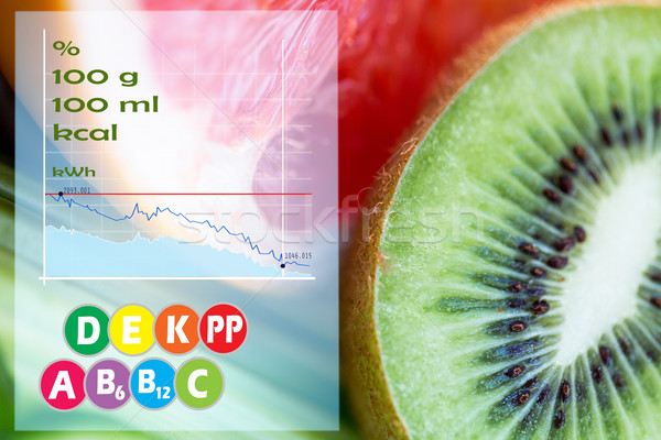 Kiwi pamplemousse calories vitamines régime alimentaire alimentaire Photo stock © dolgachov