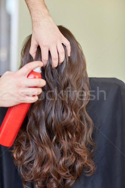стилист волос спрей прическа салона Сток-фото © dolgachov