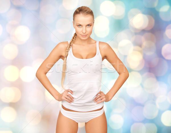 Piękna kobieta bielizna niebieski światła ludzi piękna Zdjęcia stock © dolgachov