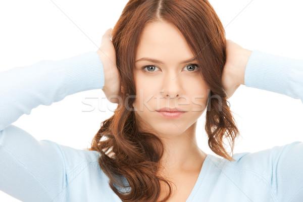 Foto stock: Mulher · mãos · orelhas · quadro · estresse · cabeça