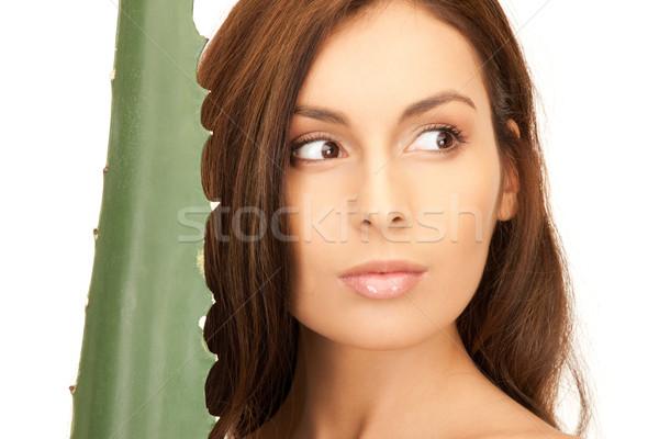 Mulher aloés quadro cara feliz saúde Foto stock © dolgachov