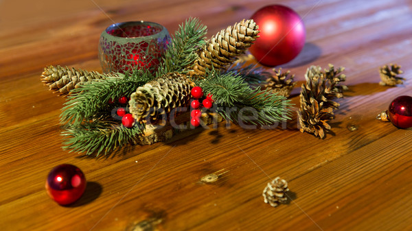Stock photo: christmas fir branch decoration and candle lantern