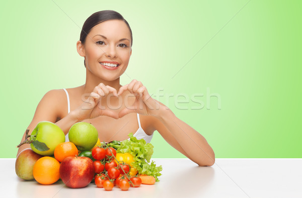 woman with healthy food showing heart shape sign Stock photo © dolgachov