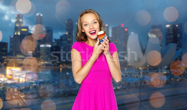 Gelukkig vrouw tienermeisje verjaardag mensen Stockfoto © dolgachov