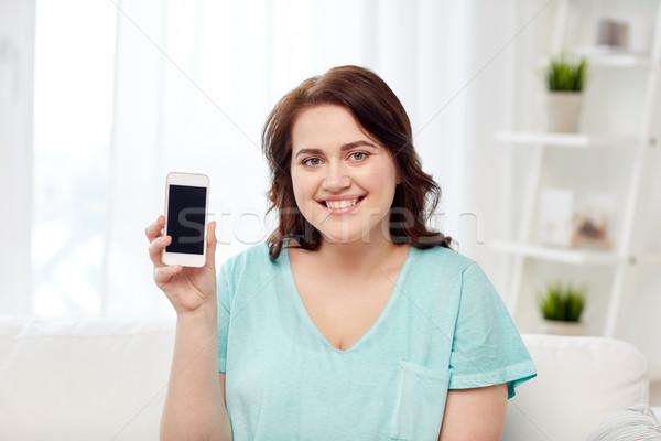 幸せ プラスサイズ 女性 スマートフォン ホーム 人 ストックフォト © dolgachov