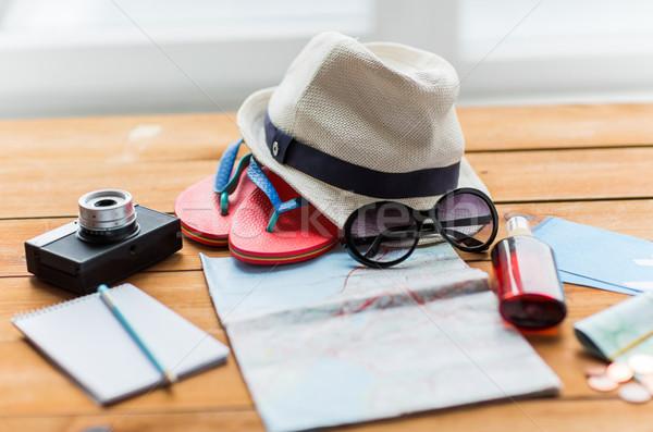 Viajar mapa bilhetes dinheiro férias de verão Foto stock © dolgachov