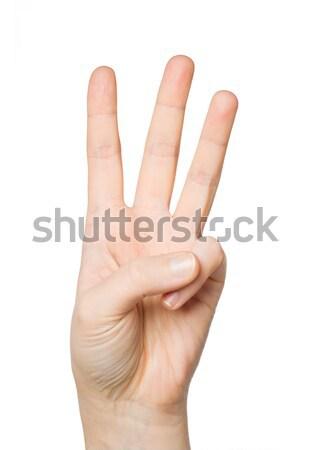 Mano tre dita gesto Foto d'archivio © dolgachov