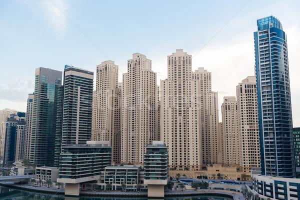 Dubai stad zakenwijk wolkenkrabbers stadsgezicht reizen Stockfoto © dolgachov