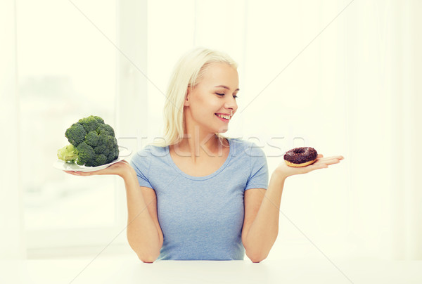 Femme souriante brocoli donut maison Photo stock © dolgachov