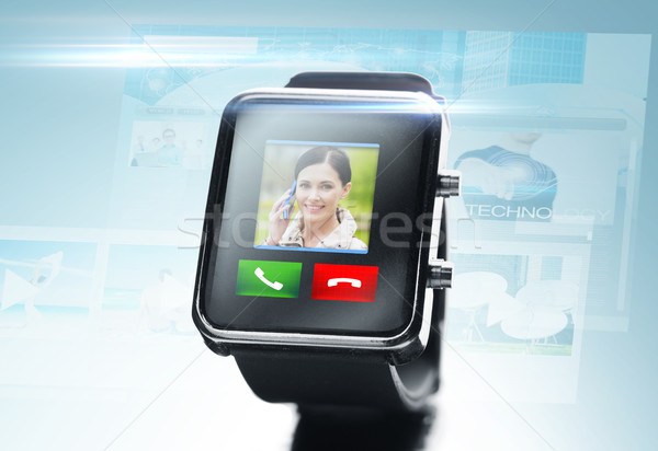 close up of black smart watch with video call icon Stock photo © dolgachov