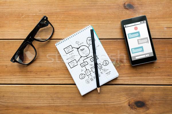 Notepad smartphone bril onderwijs business Stockfoto © dolgachov