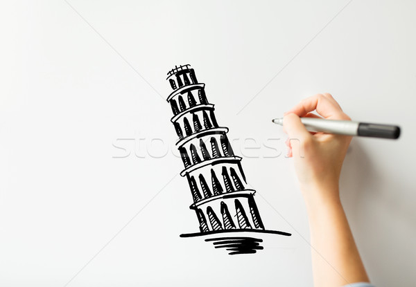 hand drawing leaning tower of pisa on white board Stock photo © dolgachov
