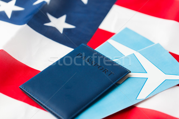 американский флаг паспорта воздуха билеты путешествия туризма Сток-фото © dolgachov