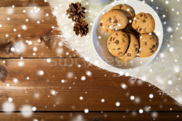 close up of cookies in bowl and cones on fur rug Stock photo © dolgachov